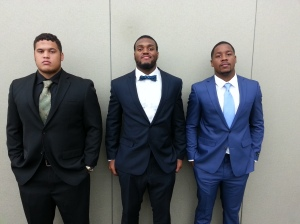 Holding the line: NSU players are (l-r) #52 R-Jr. OL Louis Humphrey #53 Sr. LB Deon King #7 Jr. QB Greg Hankerson Jr.