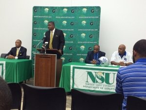 NSU Athletics Director Marty Miller, NSU Football Coach Latrell Scott, Hampton University AD Eugene Marshall, Hampton Football Coach Connell Maynor square off.