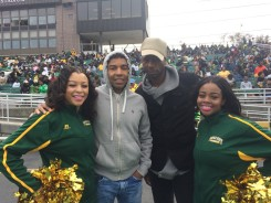 Allen Payne and Leon with NSU Cheerleaders