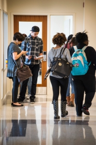 Norfolk State University students wait for their class to begin in the new Nursing and Classroom building on Tuesday, April 7, 2015. (Photo/SEMWorks)