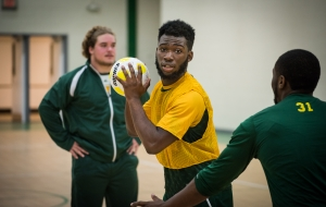 NSU students work on drills during Handball team practice in Gill Gym on Thursday, November 19, 2015. (Tigermoth Photo/Chris English)